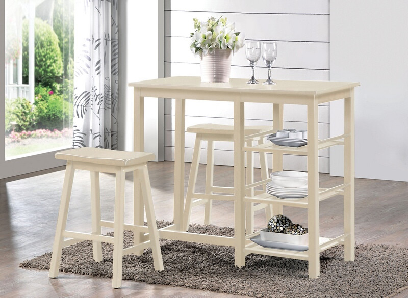 ACM73052 3 pc Nyssa collection buttermilk finish wood counter height breakfast dining set
