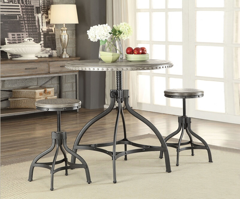 "Acme 73125 3 pc Fatima gray oak finish wood metal 36"" round counter height table set"