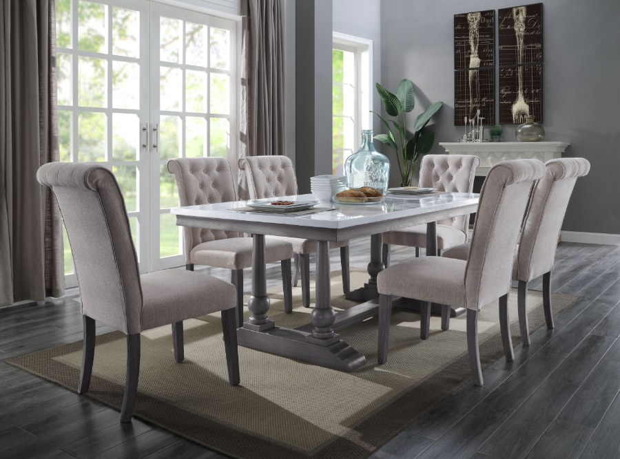 Acme 73265-67 7 pc Yabeina grey finish wood and white marble top dining table set