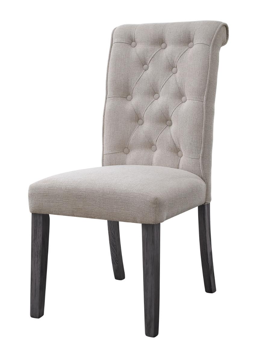 Acme 73267 Set of 2 Yabeina grey finish wood and beige linen like fabric dining chairs