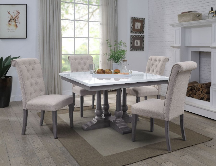Acme 73270-67 5 pc Yabeina grey finish wood and white square marble top dining table set