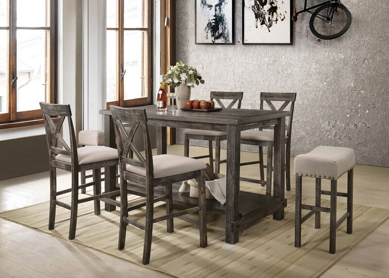Acme 73830 32 33 7 Pc Martha Ii Weathered Gray Finish Wood Counter Height Dining Table Set