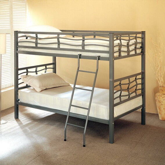 7395 Dark Silver finish metal twin over twin convertible bunk bed