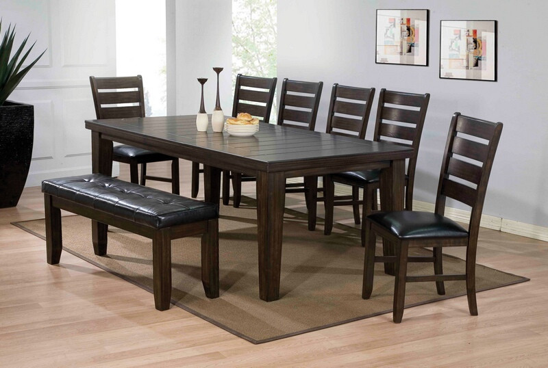 ACM74620 6 pc Urbana country collection espresso finish wood dining table set with leather like vinyl upholstered side chairs and bench