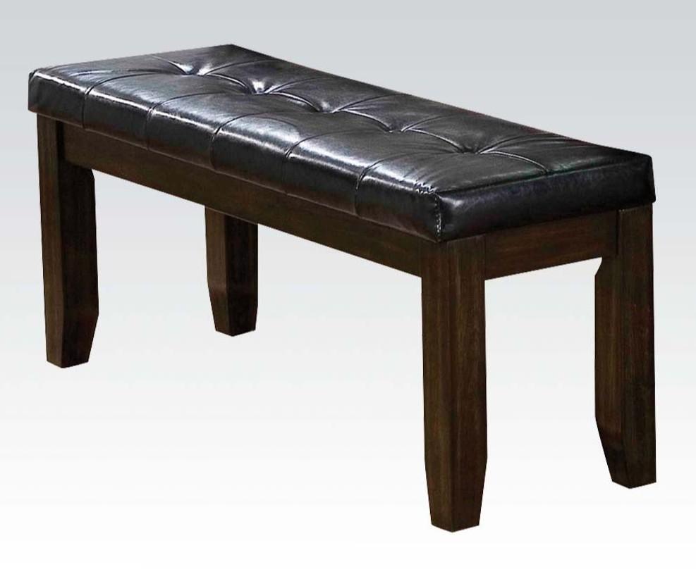 Acme 74625 Red barrell studio bonapart urbana espresso finish wood black faux leather dining / bedroom bench