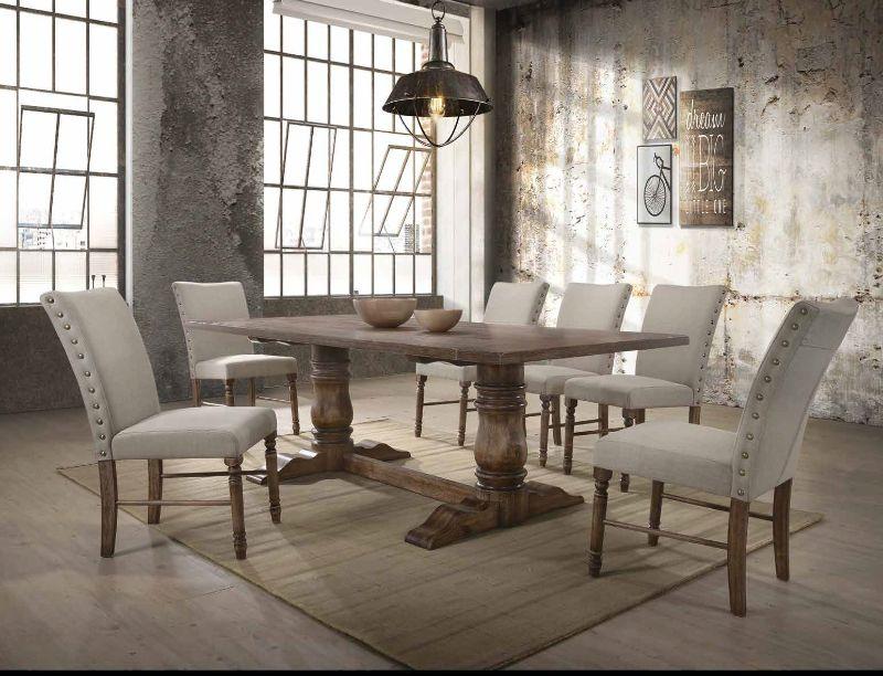 Acme 74655-57 7 pc Gracie oaks dement leventis weathered oak finish wood double pedestal dining table set