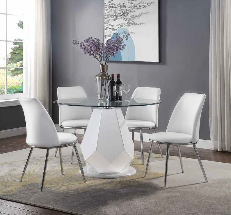 Acme 74925 77152 5 Pc Chara White High, Round Glass Top Dining Table With 4 Chairs