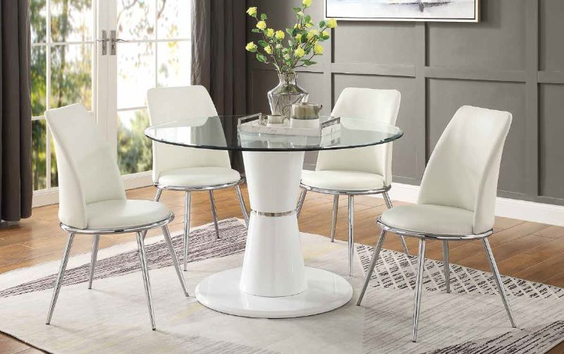 Acme 74935-77152 5 pc Kavi white high gloss base round clear glass top dining table set