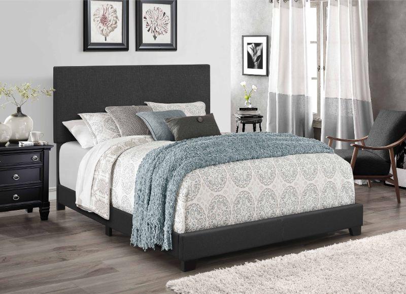 Milton Greens Stars 7554 Home Source Regents Dark Gray Linen Like Fabric Queen Bed Set
