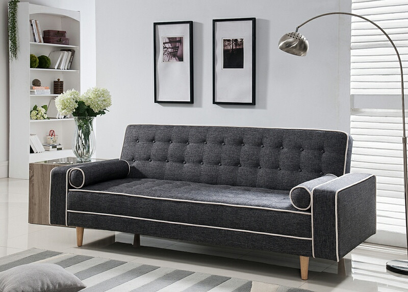 MGS 7567-GY Marleen gray linen like fabric click clack folding futon sofa bed