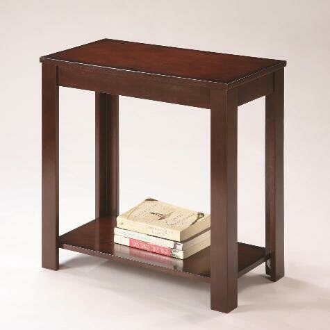 CM-7710 Pierce dark brown finish wood chair side end table with lower shelf