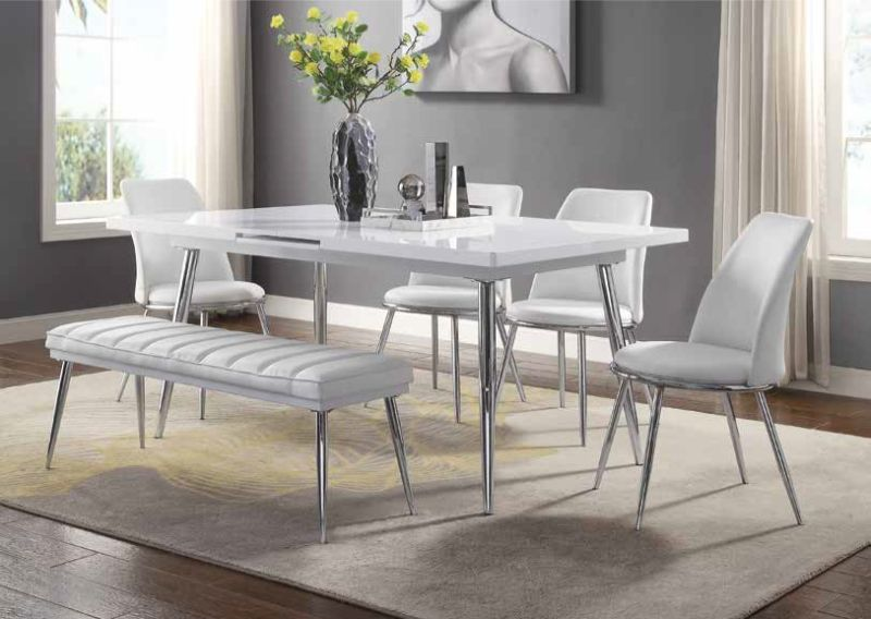 Acme 77150 52 7 Pc Weizor White High Gloss Finish Wood Modern Dining Table Set