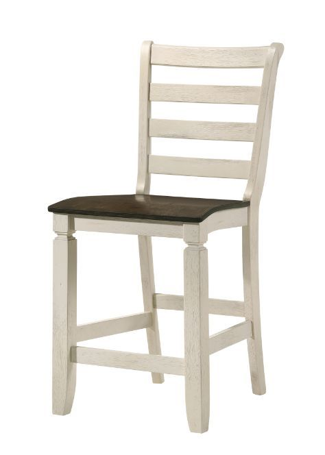 Acme 77183 Set of 2 Gray barn rooney tasnim antique white oak finish wood counter height dining chairs