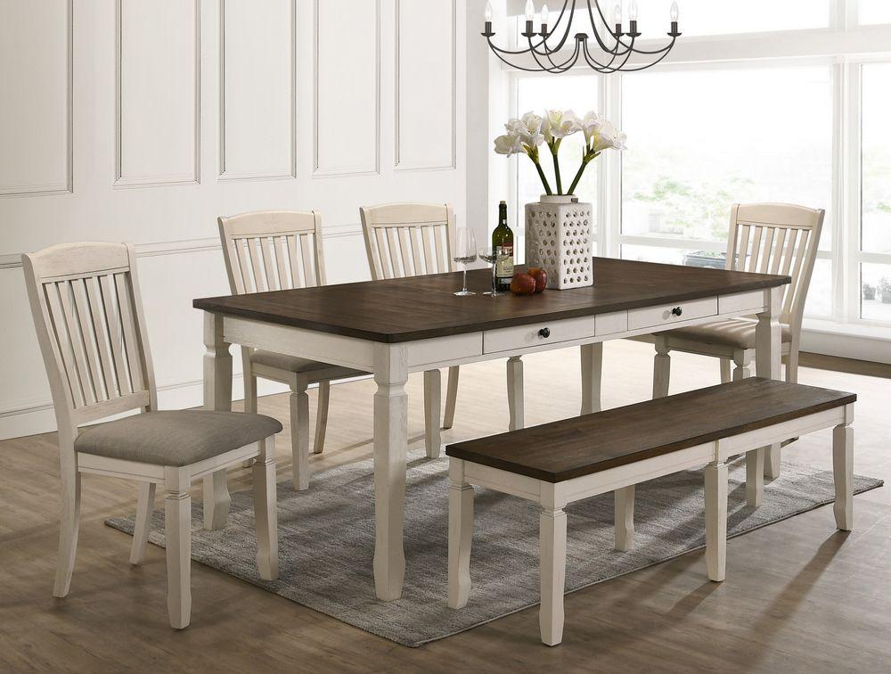 Acme 77190-92-93 6 pc Gray barn rooney fedel antique white oak finish wood dining table set