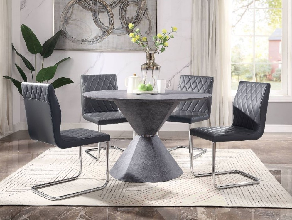 Acme 77830-32 5 pc Red barrell studio ansonia faux concrete finish round dining table set