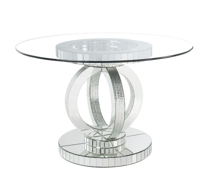 Acme 77835 Fabiola chrome metal and mirror accents glass top dining table set