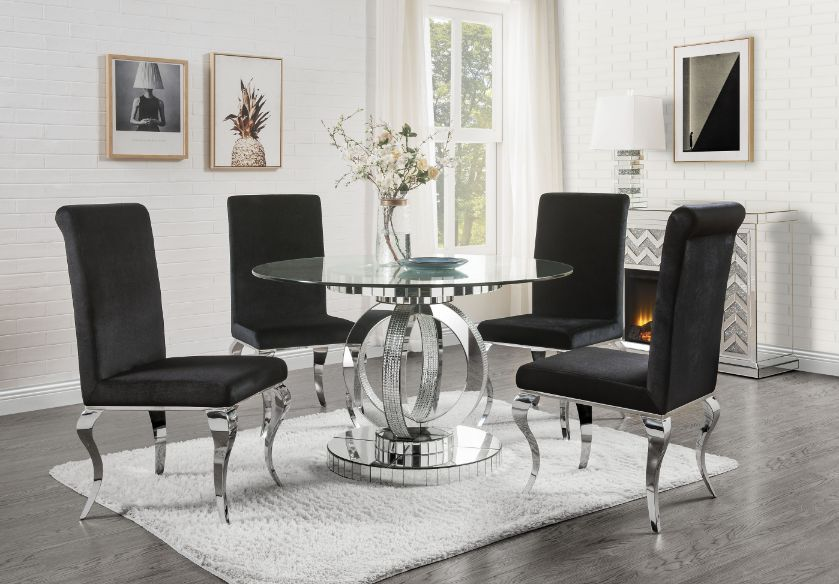 Acme 77835-62072 5 pc Fabiola chrome metal and mirror accents glass top dining table set