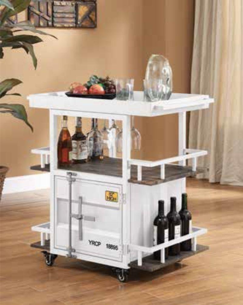 Acme 77889 Cargo container white metal kitchen island cart