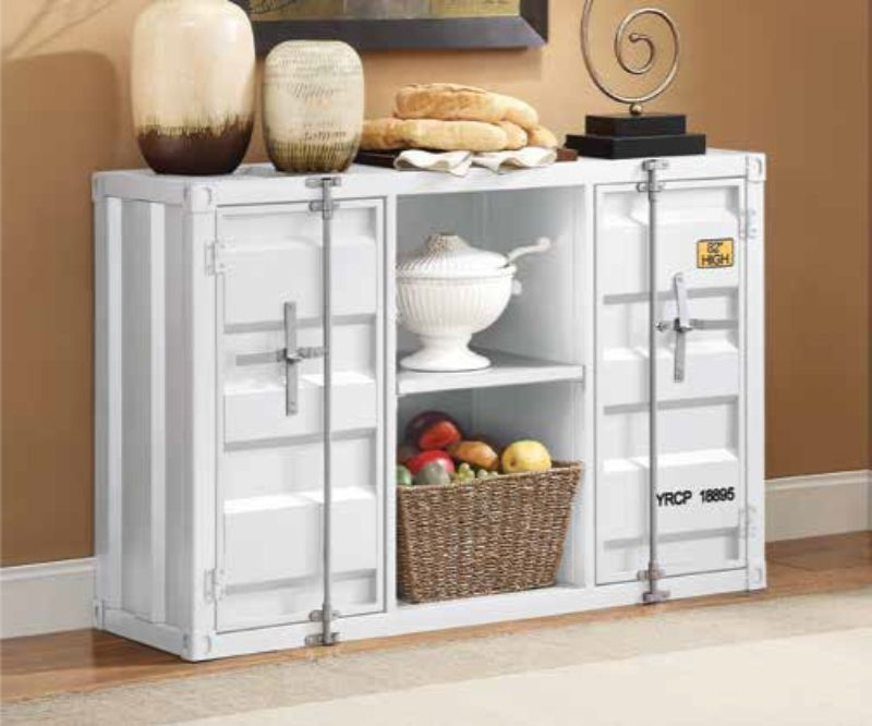 Acme 77890 Cargo container white metal dining server buffet sideboard cabinet