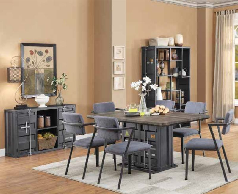 Acme 77900-02 7 pc Cargo container antique walnut wood gunmetal metal dining table set