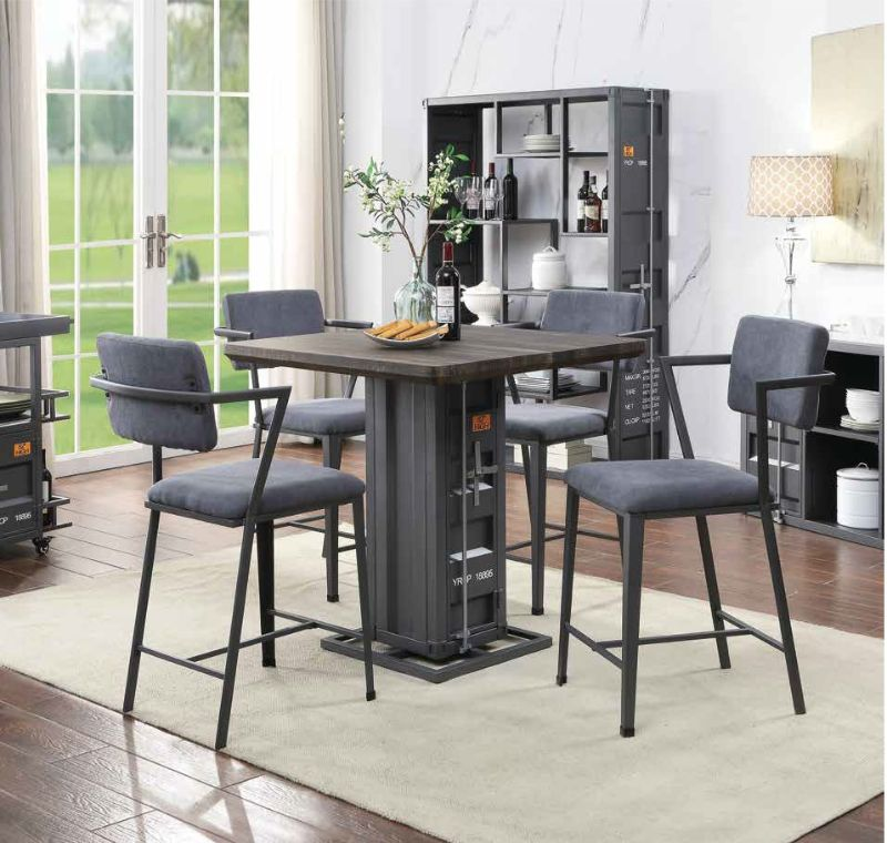Acme 77905-07 5 pc Cargo container antique walnut wood gunmetal metal counter height dining table set