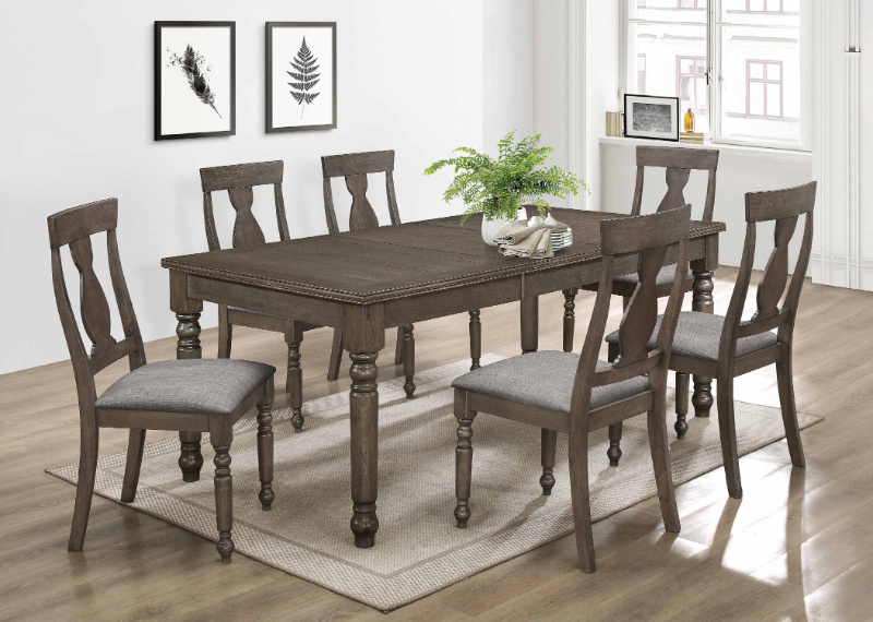 7801-7PC 7 pc Gracie oaks draven antique gray finish wood turned legs dining table set