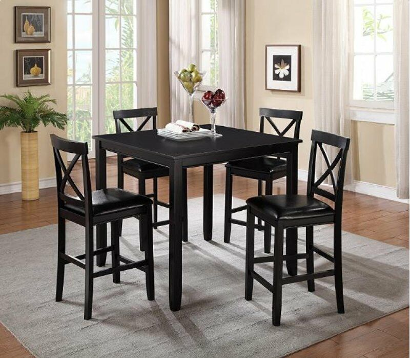 7820-5PC 5 pc Red barrel studio titsworth black finish wood counter height dining table set