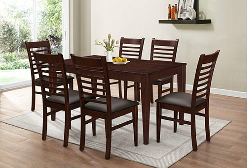 7812DB-7PC 7 pc Gracie oaks sisko dark brown finish wood dining table set