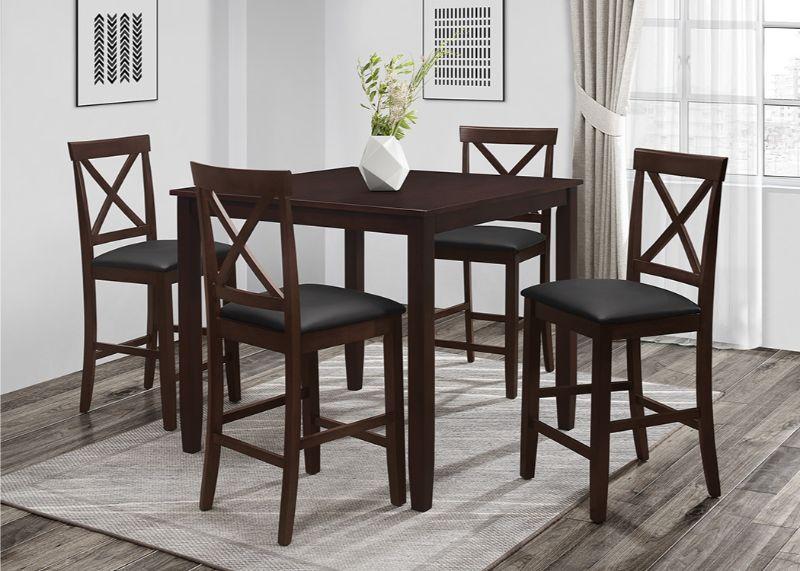 7821-5PC 5 pc Red barrel studio titsworth espresso finish wood counter height dining table set