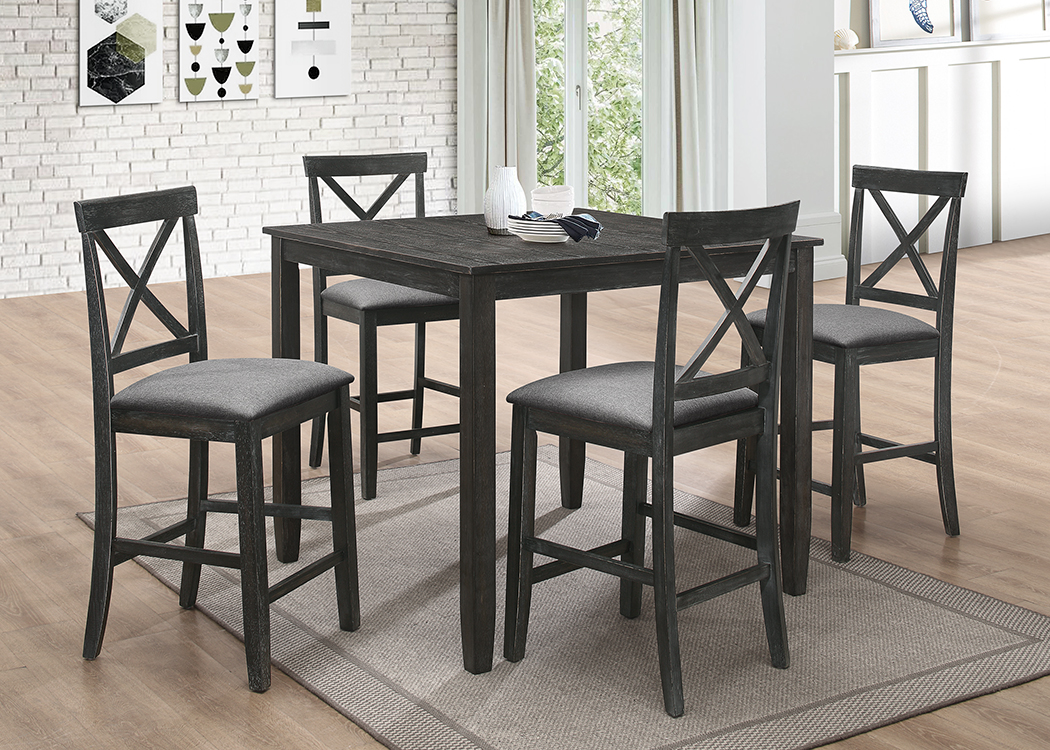 7822-5PC 5 pc Red barrel studio antique black finish wood counter height dining table set
