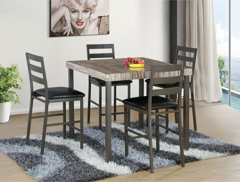 7823-5PC 5 pc Red barrel studio cora brown faux marble top counter height dining table set