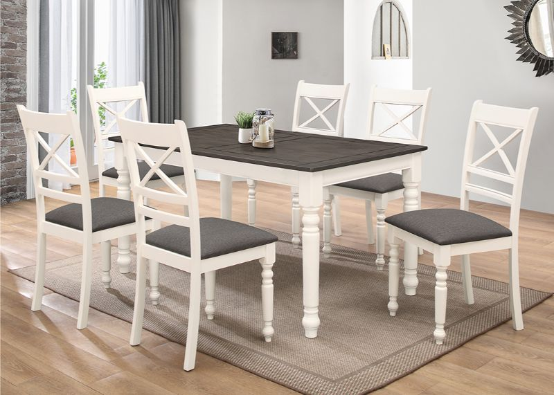 7827-7PC 7 pc Winston porter willy ivory and gray finish wood dining table set