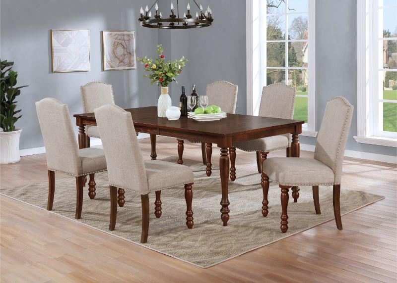 7836-7PC 7 pc Winston porter salamanca brown finish wood dining table set