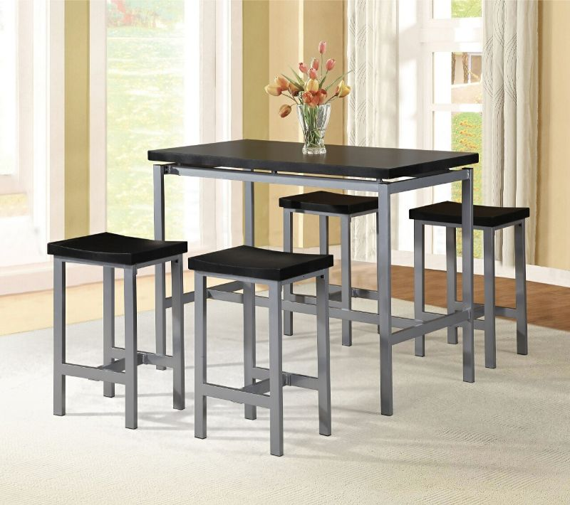 7847-5PK 5 pc Wrought studio denzel black finish wood counter height dining table set