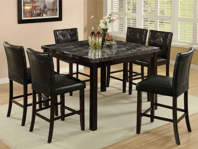 7860-7PC 7 pc Red barrel studio titsworth espresso finish wood faux marble top counter height dining table set