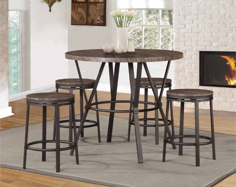 7877BRN-5PC 5 pc Williston forge kinsey brown round faux wood grain top counter height dining table set