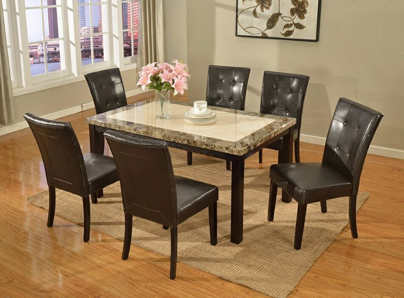 7886-7763-7PC 7 pc Red barrel studio bales espresso finish wood faux marble top dining table set