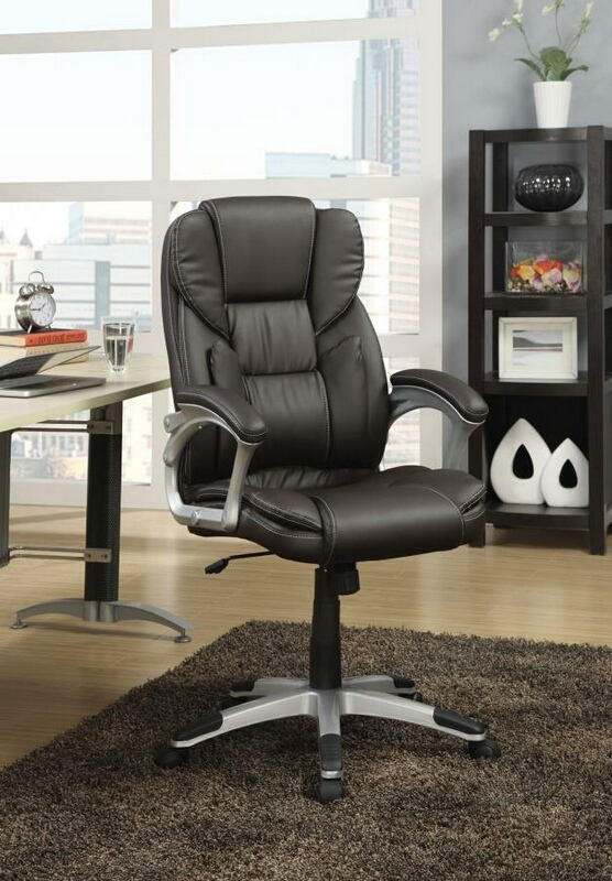 800045 Ebern designs brandon stylish seat and back dark brown faux leather office chair with casters