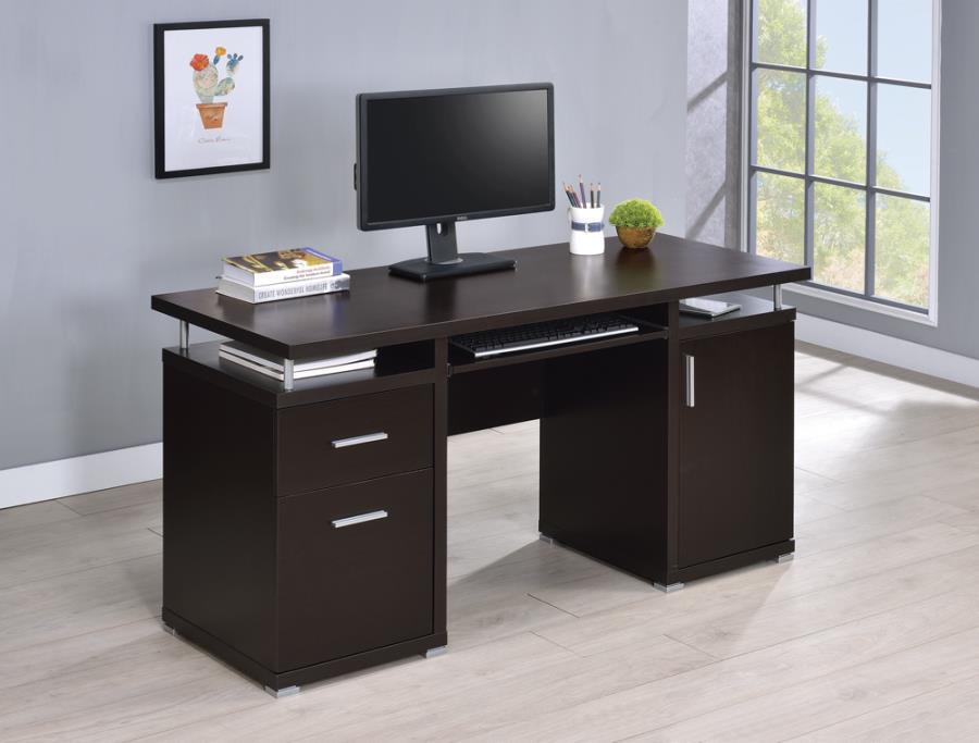 800107 Latitude run gania tracy espresso finish wood office computer desk with file cabinet
