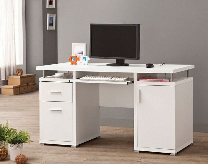 CST800108 White finish wood office computer desk with file cabinet , drawer and open cabinet