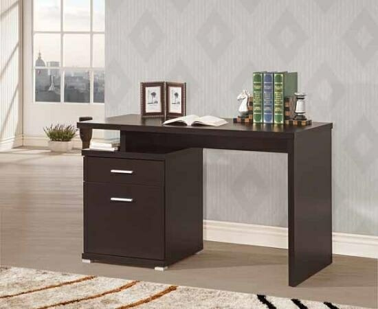 CST800109 Espresso finish wood small office computer desk with file cabinet , drawer and open storage shelf