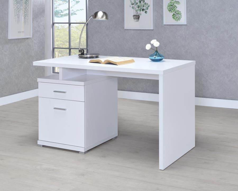 800110 Ebern designs chused white finish wood small office computer desk with file cabinet