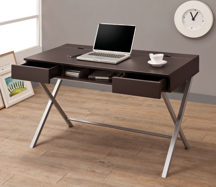 CST800117 Espresso finish wood and x shaped silver finish metal legs computer desk with drawers