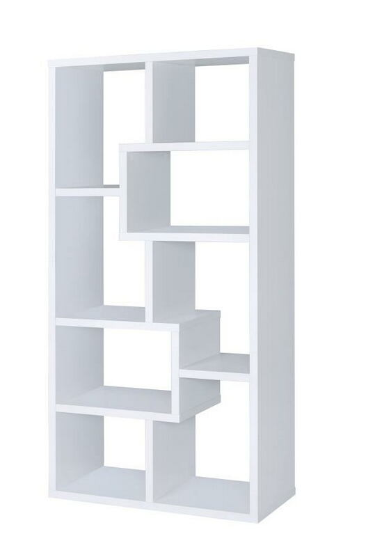800136 Wrought studio skaggs white finish wood multi tier bookshelf with alternating size shelves