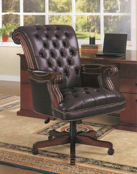 800142 Leather high back tufted seat and back executive office chair with pin trim