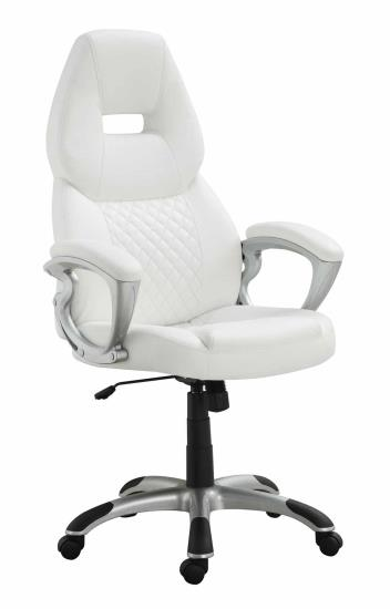 CST800150 Brandon collection stylish seat and back white faux leather office chair with casters