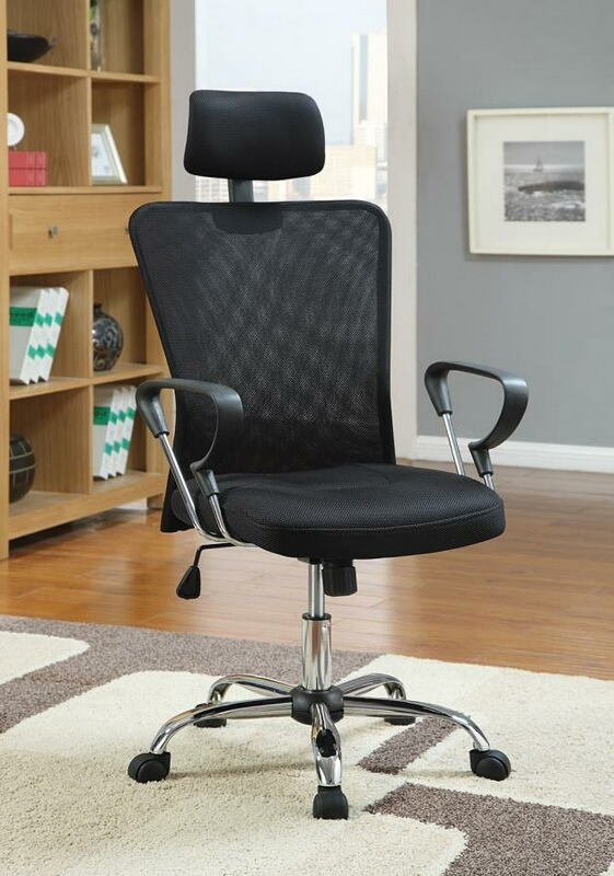 CST800206 Brandon collection black mesh high back office chair with casters
