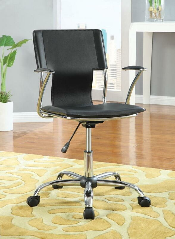 800207 Orren ellis holdsworth modern office black leatherette and chrome frame chair with casters