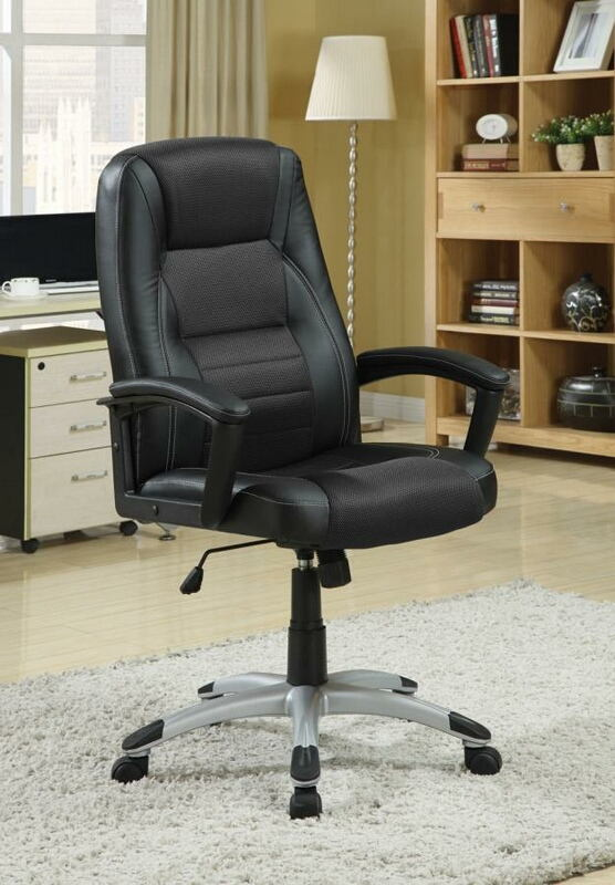 800209 Orren ellis ebern design tufted back black faux leather office chair with casters