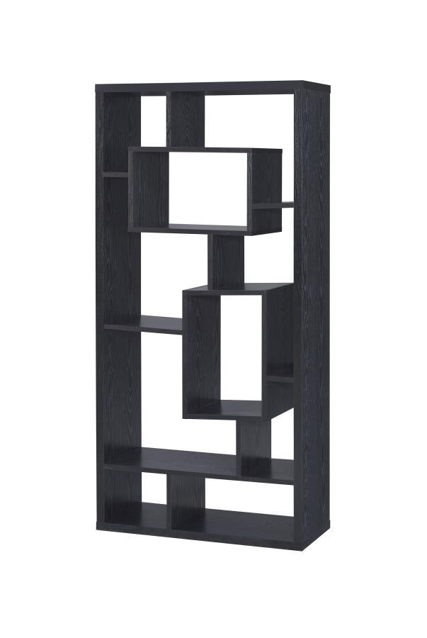 800262 Wrought studio cyrus multi shaped shelves black finish wood bookcase shelf unit